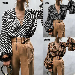 Womens-Summer-Animal-Printed-Lace-Up-Tunic-Blouse-Top-V-Neck-Puff-Sleeve-T-shirt