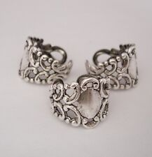 Ring Base Adjustable Filigree Setting Antique Silver Made in USA-2pcs.