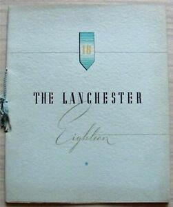 LANCHESTER EIGHTEEN SALOON & SPORTS SALOON Car Sales Brochure 1938-39 #C1839