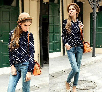 Fashion Women's Shirt Polka Dots Chiffon Vintage Top Blouse T-Shirt Long Sleeve