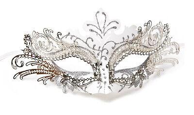 Laser Cut Metal Venetian Mask Masquerade Costume Silver White w/Rhinestone NEW!