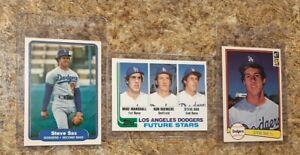 (3) Steve Sax 1982 Topps Fleer Donruss Rookie Card Lot Dodgers RC