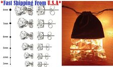 6 Pairs Assorted Sizes Wholesale Lot Stainless Steel Cubic Zirconia Stud Earring