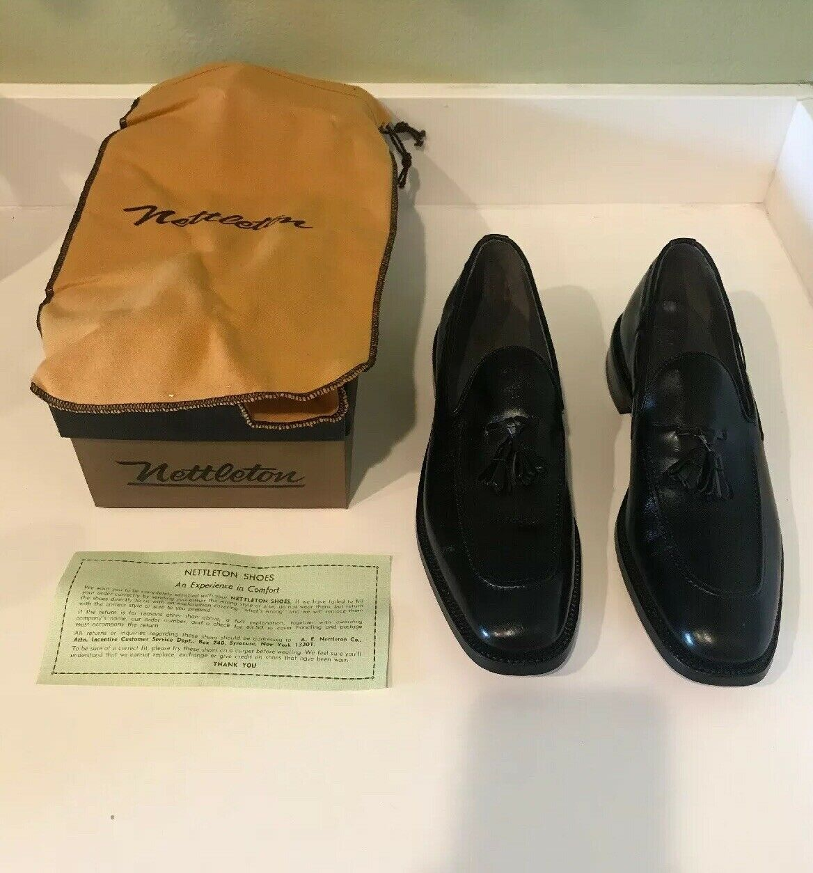 NETTLETON CLASSIC nero LOAFER TASSEL MENS 10 AAA DRESS scarpe NEW VINTAGE RARE