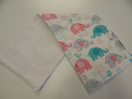 Burp Cloth Elephants Aqua Pink On White 1 Only Toweling Back