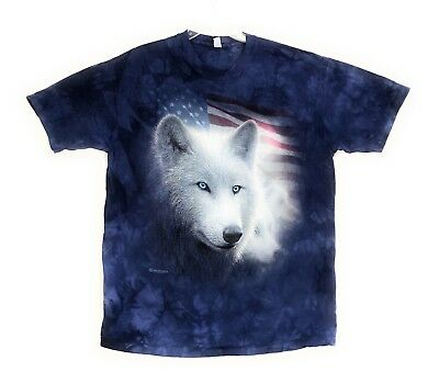 The Mountain Mens Patriotic White Wolf