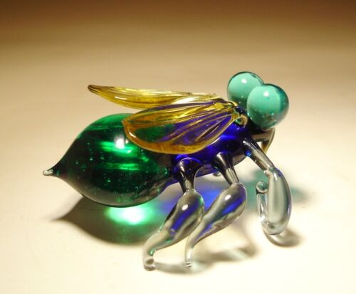 """Blown Glass /""""Murano/"""" Art Animal Figurine Insect FLY with Green Eyes"""