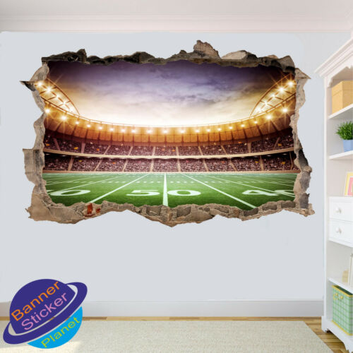 American football stadium 3D smashed wall sticker room decor decal murale YQ3