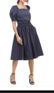 Gal Meets Glam Anastasia Double Square Neck Navy Fit and Flare Dress Size 4 NEW