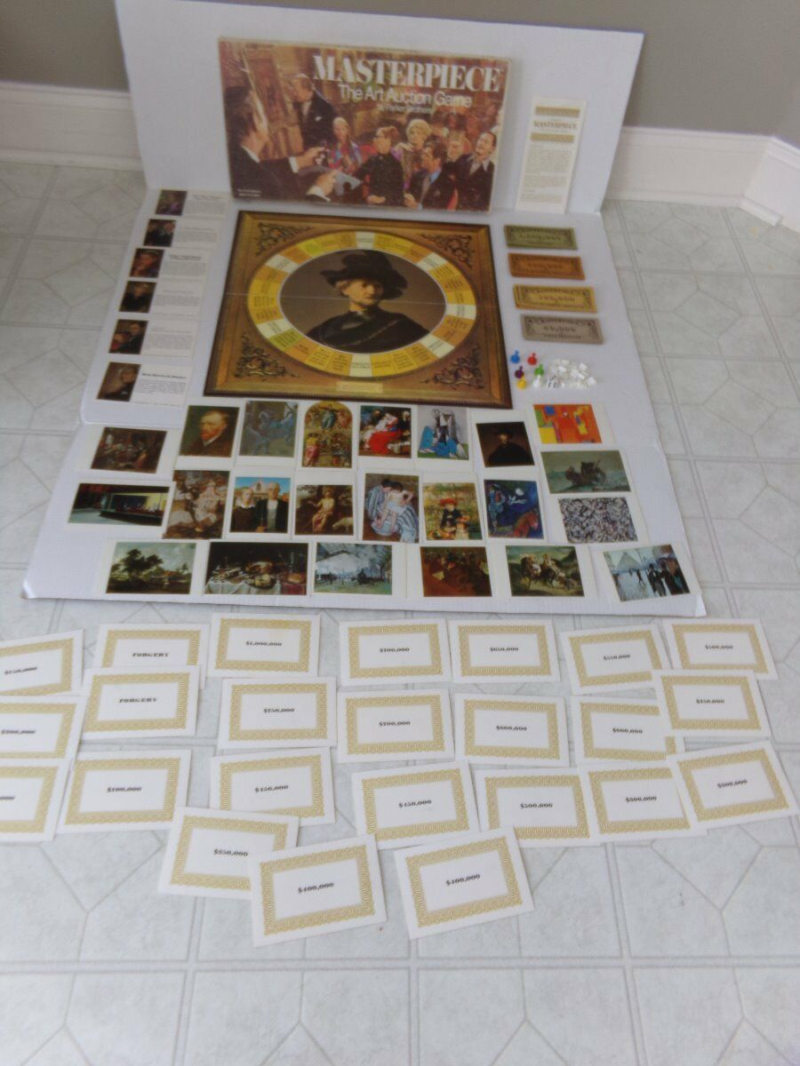 VINTAGE 1970 Parker Brougehers MASTERPIECE THE ART AUCTION Board GAME 99% EUC