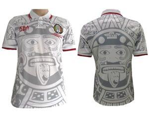 2e65dd79e6ff4 Campos 98 World Cup Mexico Football Soccer Away White Jersey Shirt ...