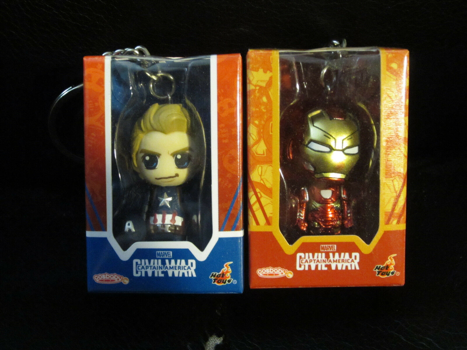 Hot Toys Civil War Captain America + Iron Man Cosbaby Key Chain Stark Rogers