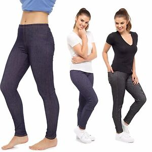 970dd3faca59b Image is loading Ladies-Girls-Denim-Look-Stretch-Elasticated-Waist-Slim-