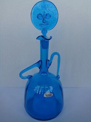 BLENKO GLASS BLUE LADY DECANTER MID CENTURY MODERN JOEL PHILLIP MEYERS 6525