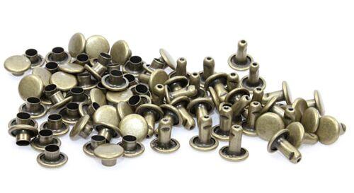 100 Komplette Nieten Doppelniete-Nieten-Ziernieten 7,0x8,0mm Eisen Altmessing