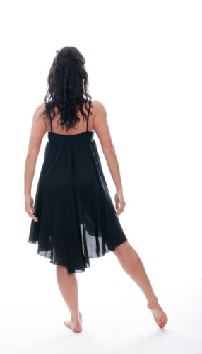 Ladies Girls Black Plain Lyrical Dress Contemporary Ballet Dance Costume By Katz