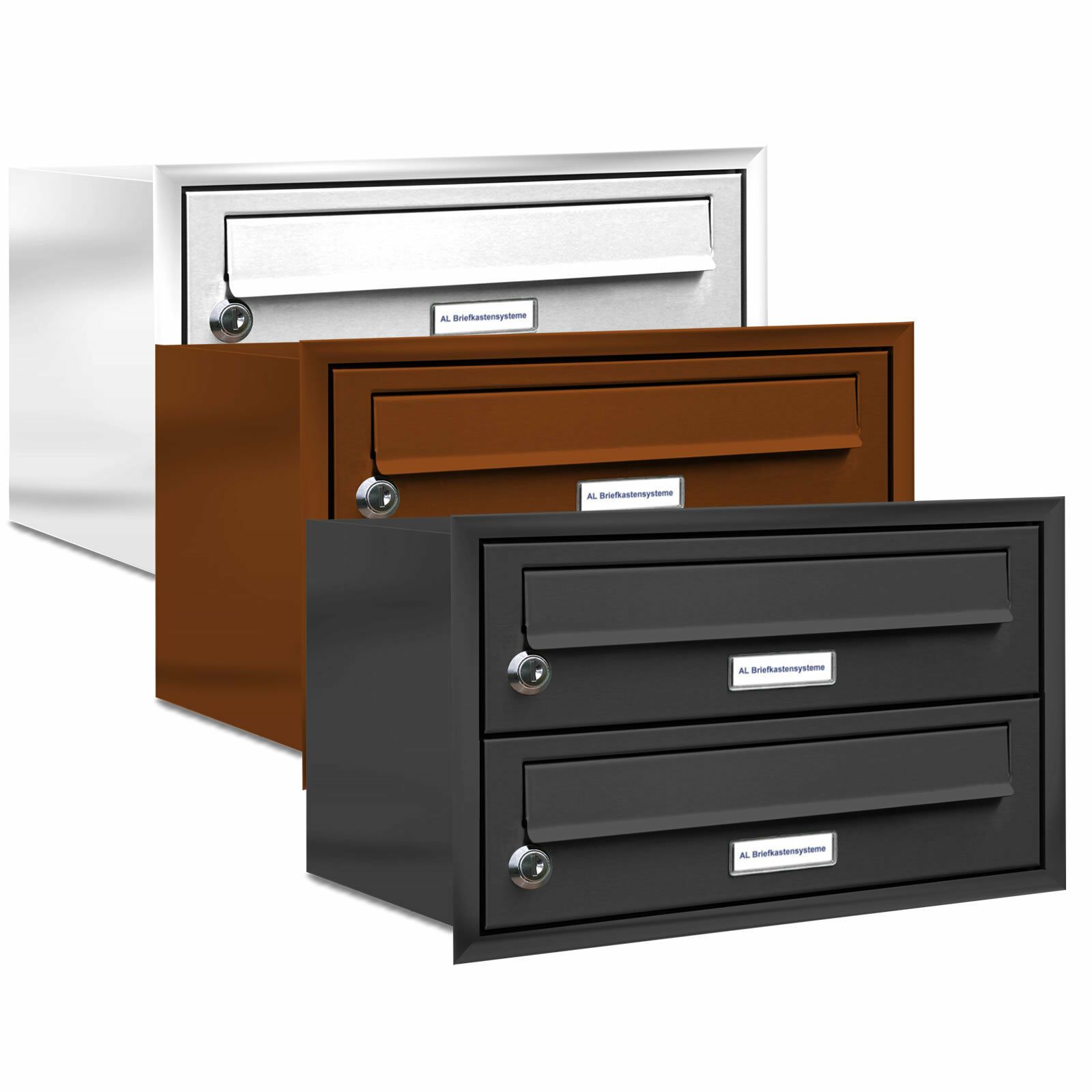 2 er Briefkasten Anlage Unterputz Montage RAL Farbe