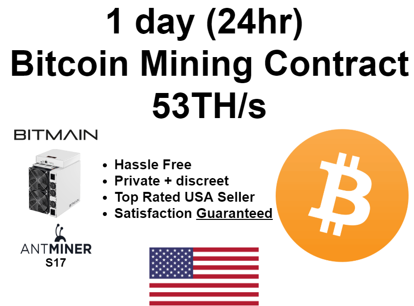 Bitcoin Lotto 24 hr (1 day) SOLO Mining Contract 53 TH/s Possible $88000+ payday 1