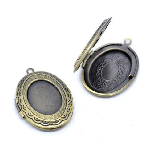 5 Pendentifs Medaillon Ovale porte Photo Couleur Bronze 34x24mm Z1J8