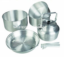 6 PIECE FAMILY ALUMINIUM COOKSET CAMPING POTS PAN SET kettle cook camping gobble