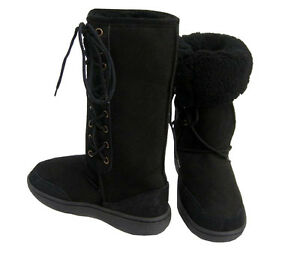 Ultra-Tall-Black-Ugg-Boots-Australian-Moulded-Sole-Laceup-Wool-Sheepskin-Boot