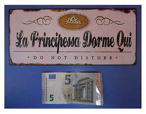 Targa-vintage-034-La-Principessa-Dorme-Qui-Do-not-disturb-034-metallo-cm-25x11