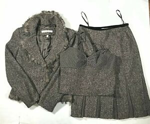 CARMEN MARC VALVO Wool Brown Feather Blazer Skirt Jacket Tank Top Set Sz 8-10