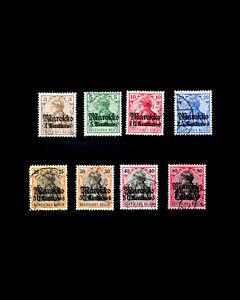 VINTAGE:MOROCCO-GERMAN 1911 USD LH,LHR SCOTT #45-51,53 EST $58 LOT #1911H34