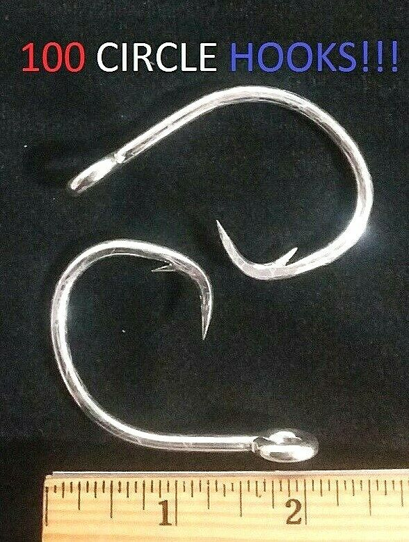 100 Eagle Claw 14 0 Heavy-Wire Offset Circle Sea Hooks (190-14 0) EB060203