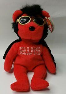 "TY Beanie Babies Elvis Presley Red Bear ""Shake Rattle & Beanie"""