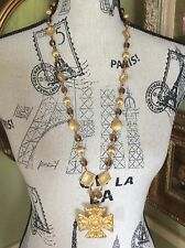 Beautiful! Vtg. Miriam Haskell Maltese Italian Gold Plated Crystal Necklace!
