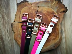 Biothane-Rose-Gold-Waterproof-Dog-Collar-ALL-sizes-adjustable-Handmade