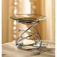 Modern Art Glass Metal Silver Wax Tart Warmer Oil Diffuser Candle Holder Burner