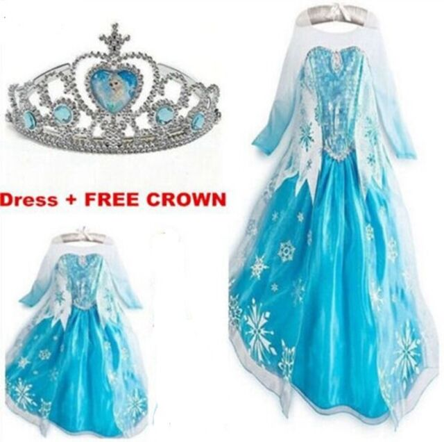 Kids Girls Dresses Elsa Frozen dress costume Princess Anna party dresses 2-10Y