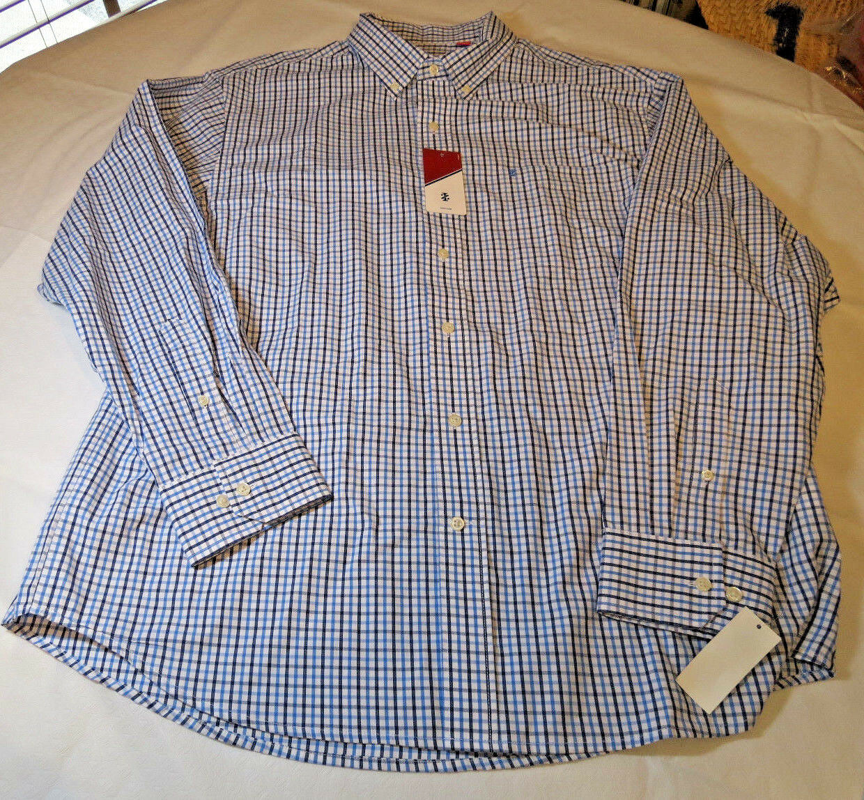 Mens Izod Basix 49901 Shirt L S button up shirt XL American Dream white bluee nvy