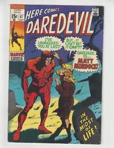 Daredevil #57/Silver Age Marvel Comic Book/Identity Revealed/FN+