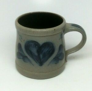 Rowe Pottery Works Heart Blue Salt Glazed Mug 1995 ~ Rowe Pottery Mug