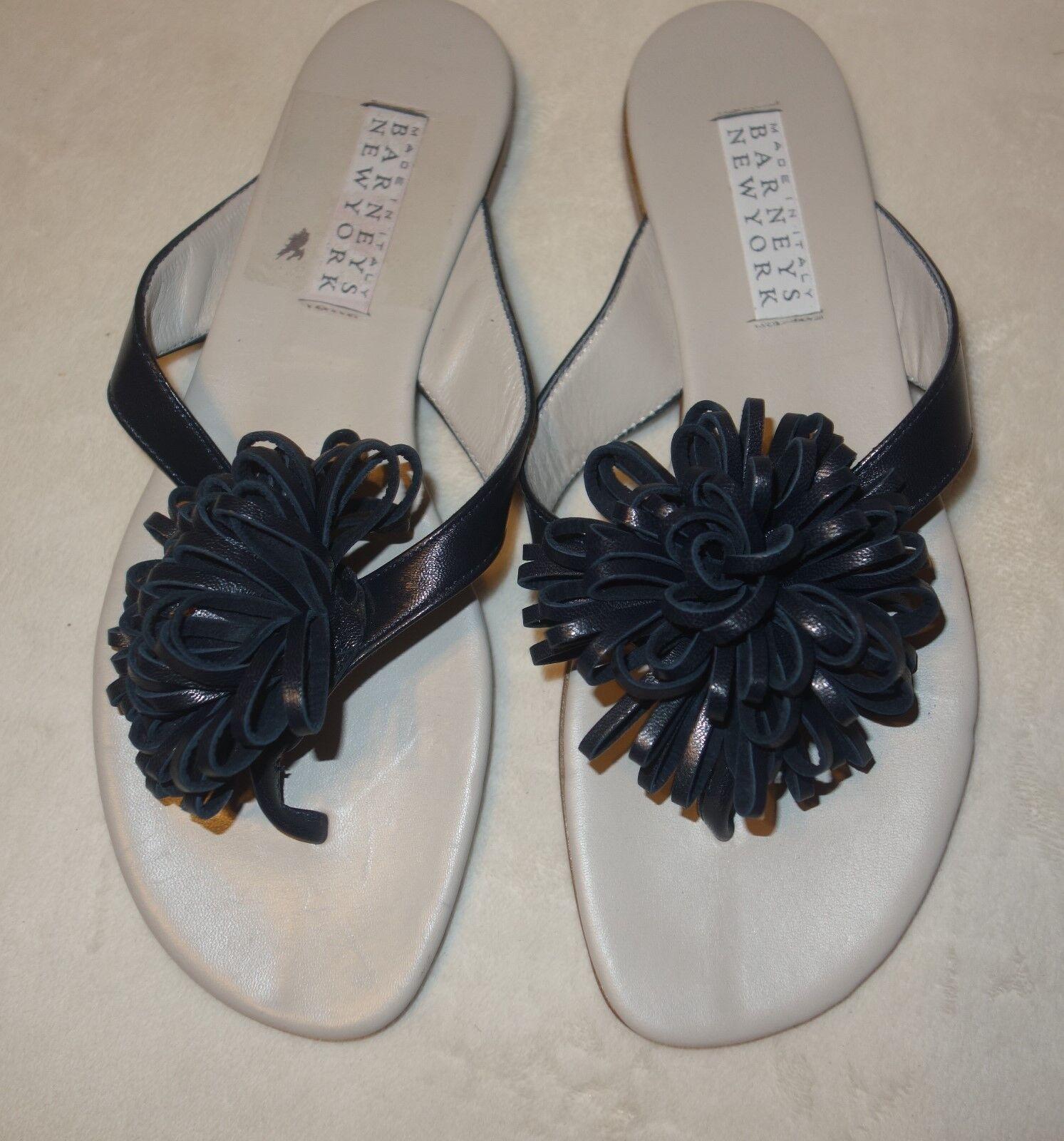 BARNEYS NEW YORK Navy Thong Flat Sandals Size 37.5