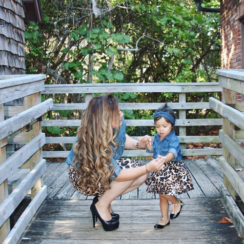 USA Family Clothing Matching Mother And Daughter 2Pcs Clothes Dresses Blouse
