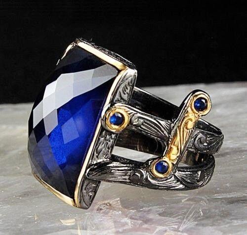 Piedra Azul Zafiro turco joyería Mens Anillo de plata esterlina 925 todos nosotros si̇ze