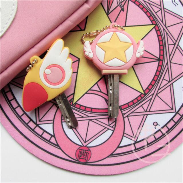 2PCS Set Keychain Ring Pendant Rubber Cute Anime Card Captor Sakura Magic Staff