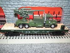 LIONEL MTH MENARDS O GUAGE LIMITED EDITION ARMY FLATCAR W/ARMY TRUCK AND GUN