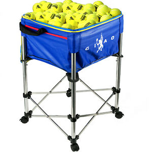 Tennis-Ball-Cart-Tennis-Hopper-160-Capacity-w-Blue-Bag-for-Baseball-Tennis