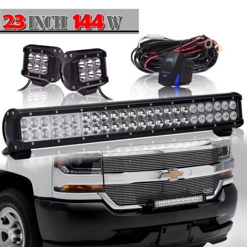 """23Inch 144W LED Light Bar SPOT FLOOD COMBO FOR  ATV BOAT 20//24/"""""""