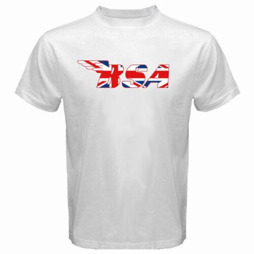 New BSA Retro Motorcycle Union Jack Men/'s White T-Shirt Size S M L XL 2XL 3XL