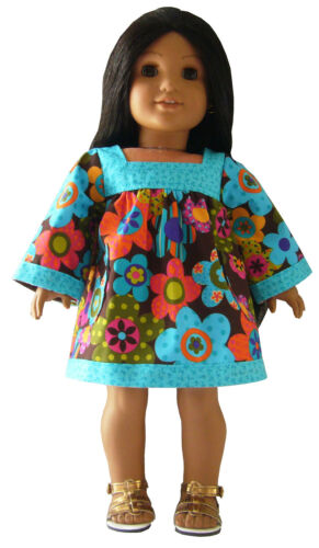 "For 18/"" American Girl Boho Hippy Afghan Dress /& Gladiator Sandals Doll Clothes"
