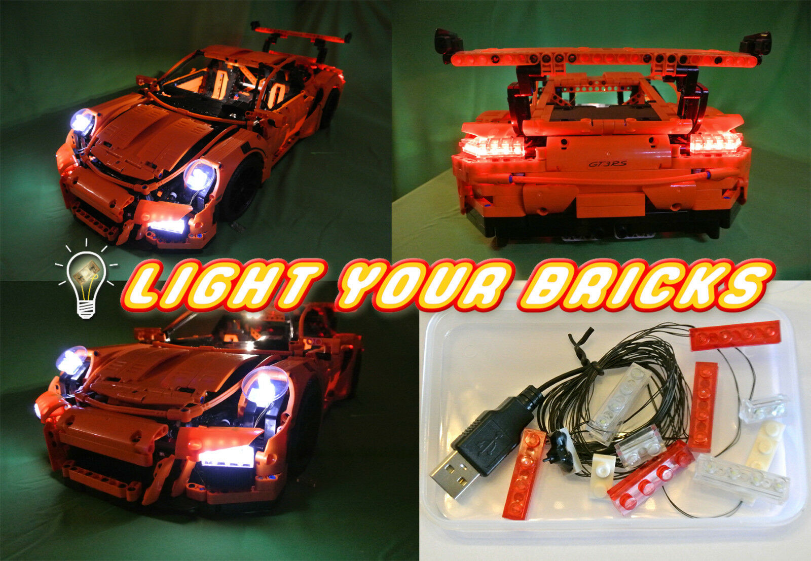 NEU  LED Light Licht Kit für for Lego Porsche 911 GT3 RS 42056