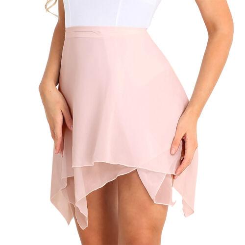 Adult Women Girls Chiffon Ballet Leotard Tutu Wrap Scarf Skirt Mini Dance Dress