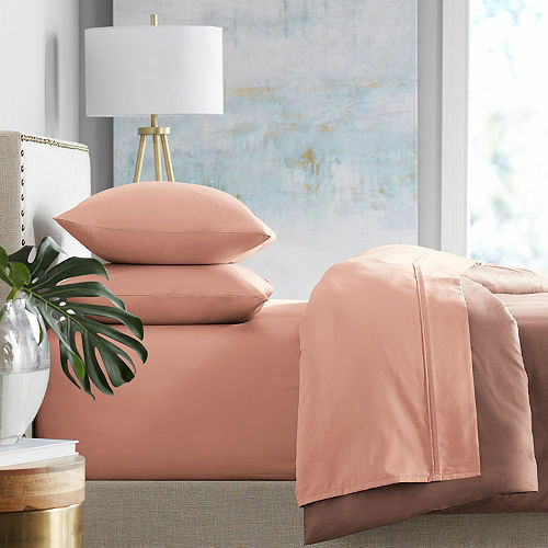 MMARK 450-Thread-Count TWIN Bed Sheet Set 100% Cotton Coral