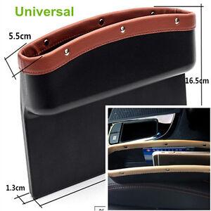 Car Seat Gap Filler Organizer Side Slit Storage Box Console Pocket Auto Seat Side Drop Caddy Catcher with 2 USB Ports Black